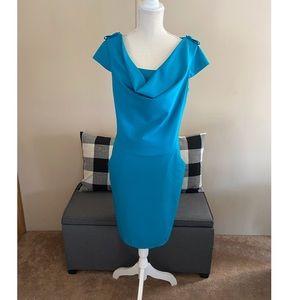 Calvin Klein Turquoise Drape Neck Dress Size 14